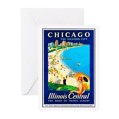 Chicago Travel Poster 1 Greeting Cards (Pk of 10)