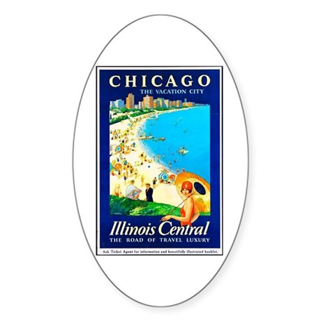 Chicago Travel Poster 1 Sticker (Oval)