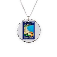 Chicago Travel Poster 1 Necklace