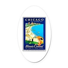 Chicago Travel Poster 1 Oval Car Magnet