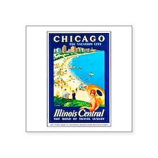 "Chicago Travel Poster 1 Square Sticker 3"" x 3"""