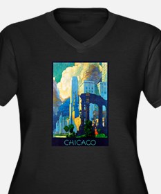 Chicago Travel Poster 3 Women's Plus Size V-Neck D