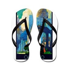 Chicago Travel Poster 3 Flip Flops
