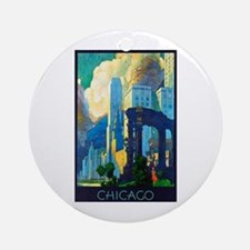 Chicago Travel Poster 3 Ornament (Round)
