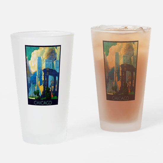 Chicago Travel Poster 3 Drinking Glass