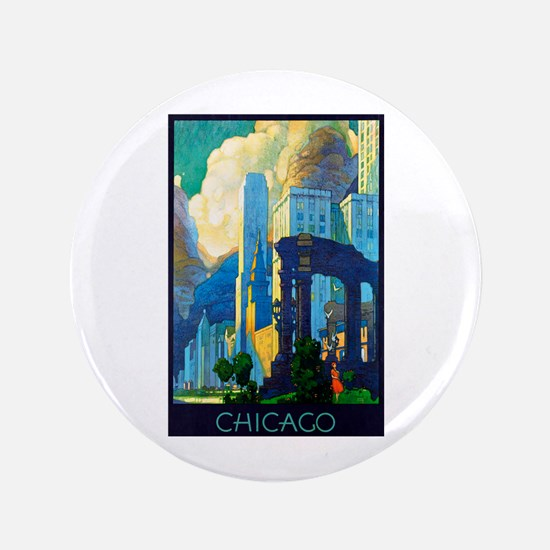 """Chicago Travel Poster 3 3.5"""" Button"""