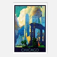 Chicago Travel Poster 3 Postcards (Package of 8)