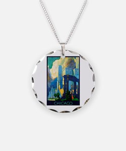Chicago Travel Poster 3 Necklace