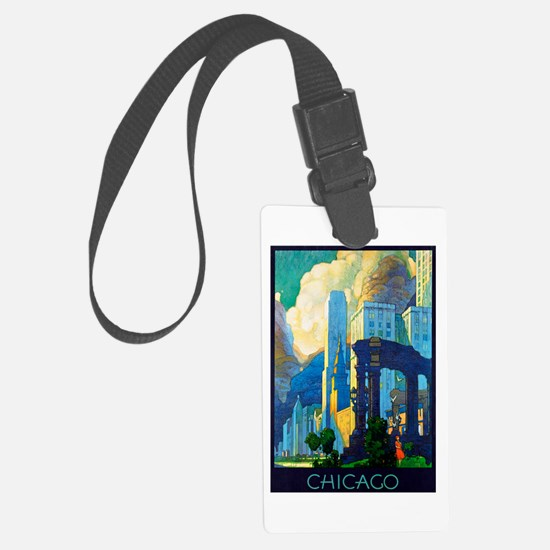 Chicago Travel Poster 3 Luggage Tag