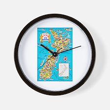 New Zealand Travel Poster 8 Wall Clock
