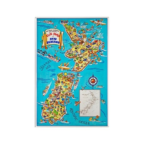 New Zealand Travel Poster 8 Rectangle Magnet