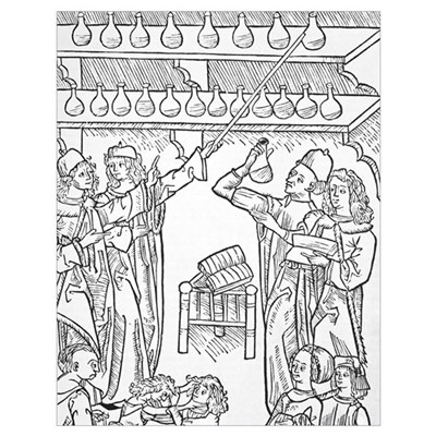 Urine analysis, 16th century Poster