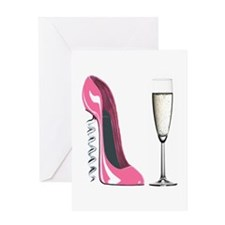 Corkscrew Pink Stiletto Shoe and Champagne Glass G