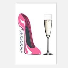 Corkscrew Pink Stiletto Shoe and Champagne Glass P