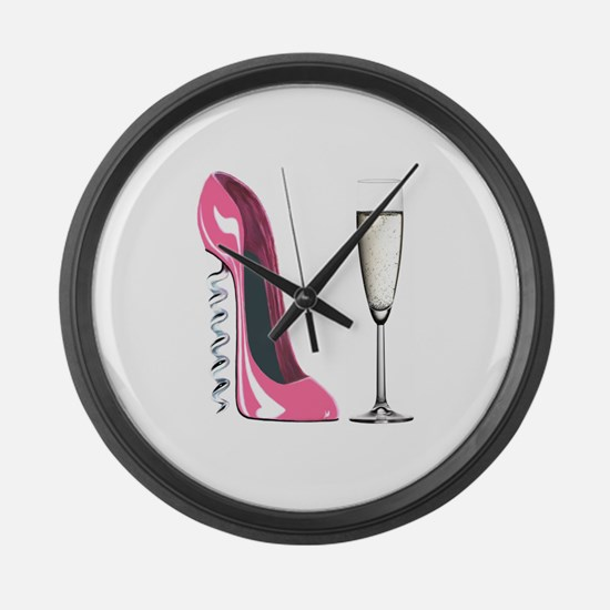 Corkscrew Pink Stiletto Shoe and Champagne Glass L