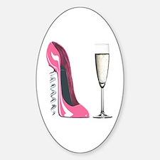 Corkscrew Pink Stiletto Shoe and Champagne Glass S