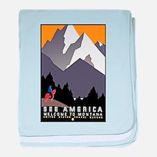 Montana Travel Poster 3 baby blanket