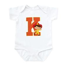 Letter K Firefighter Monogram Infant Bodysuit