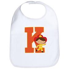 Letter K Firefighter Monogram Bib