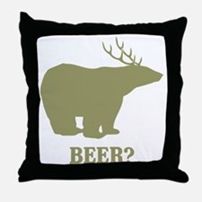 Beer Deer Bear Throw Pillow