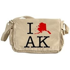 I Love AK Alaska Messenger Bag