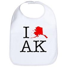 I Love AK Alaska Bib