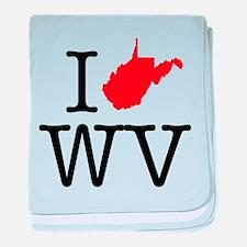 I Love WV West Virginia baby blanket