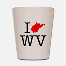I Love WV West Virginia Shot Glass