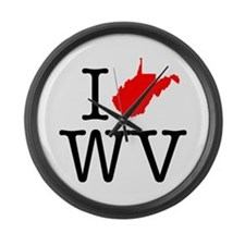 I Love WV West Virginia Large Wall Clock
