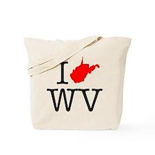 I Love WV West Virginia Tote Bag