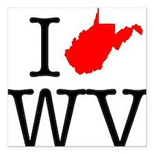 "I Love WV West Virginia Square Car Magnet 3"" x 3"""