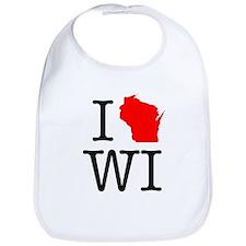 I Love WI Wisconsin Bib