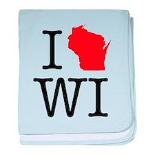 I Love WI Wisconsin baby blanket