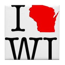 I Love WI Wisconsin Tile Coaster