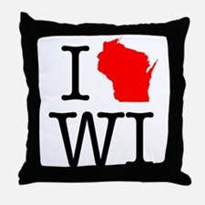 I Love WI Wisconsin Throw Pillow