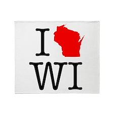 I Love WI Wisconsin Throw Blanket