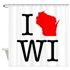 I Love WI Wisconsin Shower Curtain