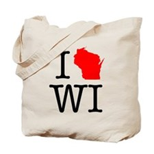 I Love WI Wisconsin Tote Bag