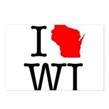 I Love WI Wisconsin Postcards (Package of 8)