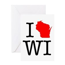 I Love WI Wisconsin Greeting Card