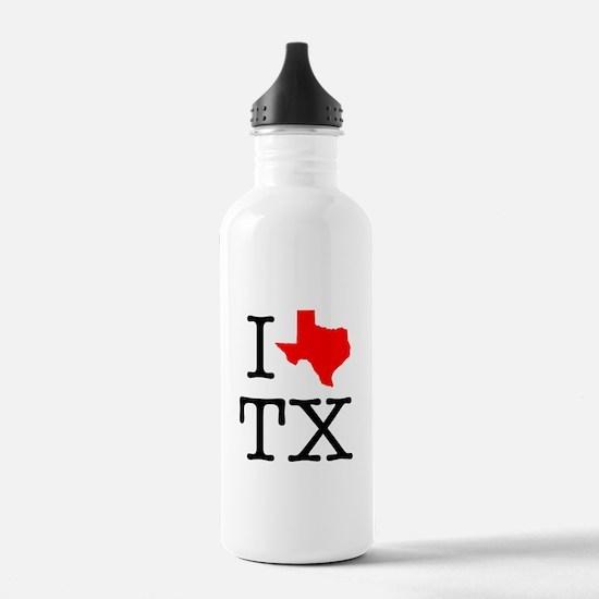 I Love TX Texas Water Bottle