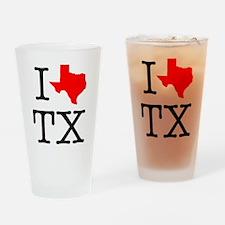 I Love TX Texas Drinking Glass