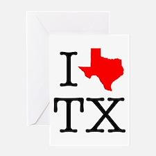I Love TX Texas Greeting Card