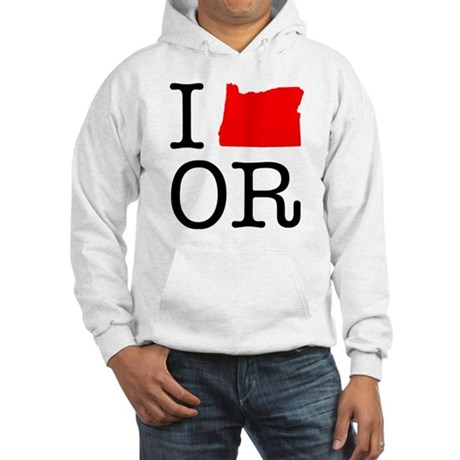 I Love OR Oregon Hooded Sweatshirt