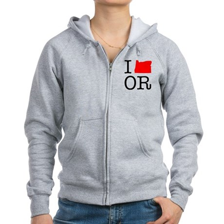 I Love OR Oregon Women's Zip Hoodie