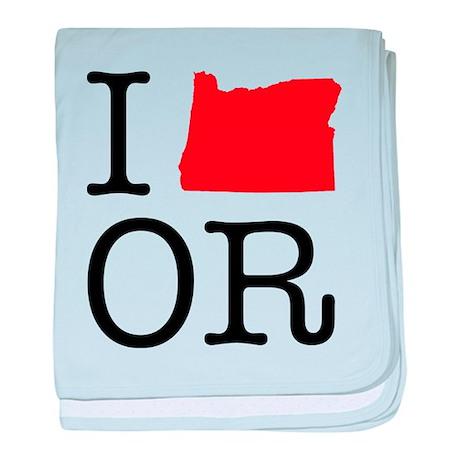 I Love OR Oregon baby blanket