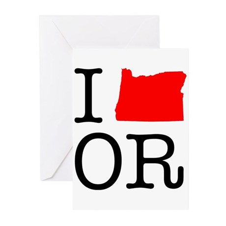 I Love OR Oregon Greeting Cards (Pk of 20)