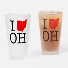 I Love OH Ohio Drinking Glass