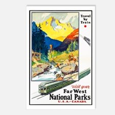 National Parks Travel Poster 6 Postcards (Package
