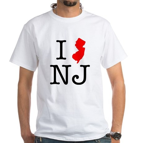 I Love NJ New Jersey White T-Shirt